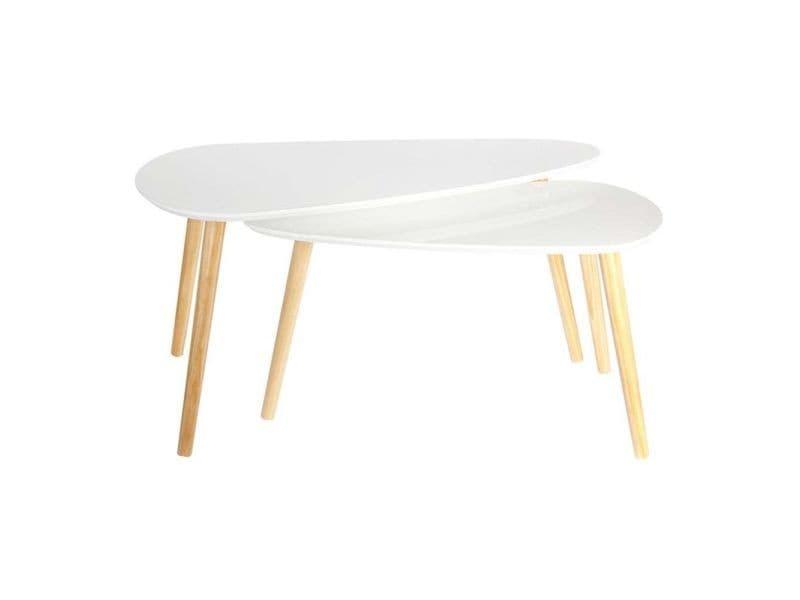 Tables gigognes en bois galet (lot de 2)