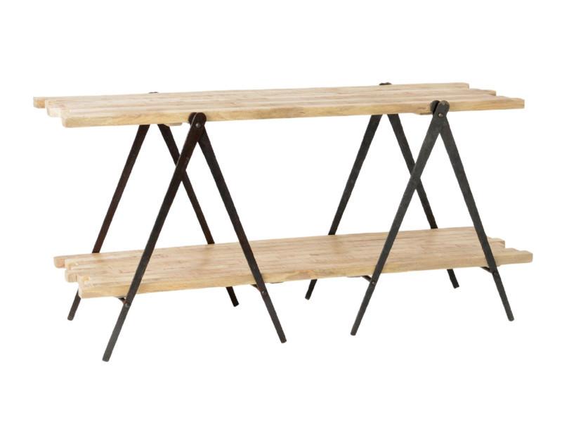 Console moderne en bois et métal - compas