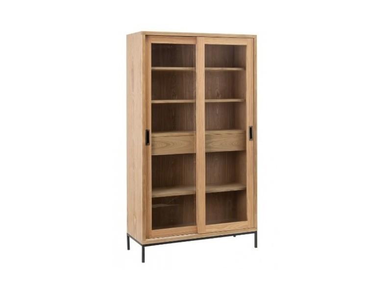 Armoire bois de frêne/métal portes coulissantes mesa