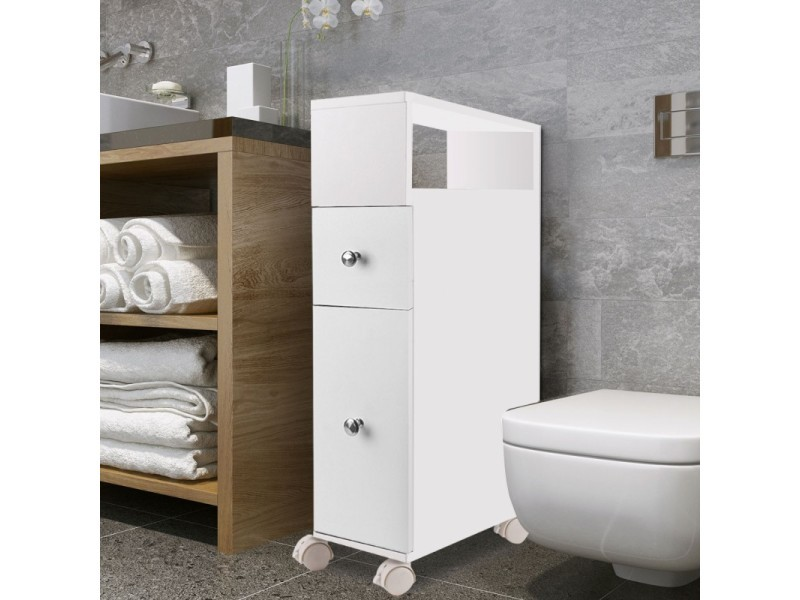 meuble rangement wc sur roulettes 2 tiroirs blanc vente. Black Bedroom Furniture Sets. Home Design Ideas