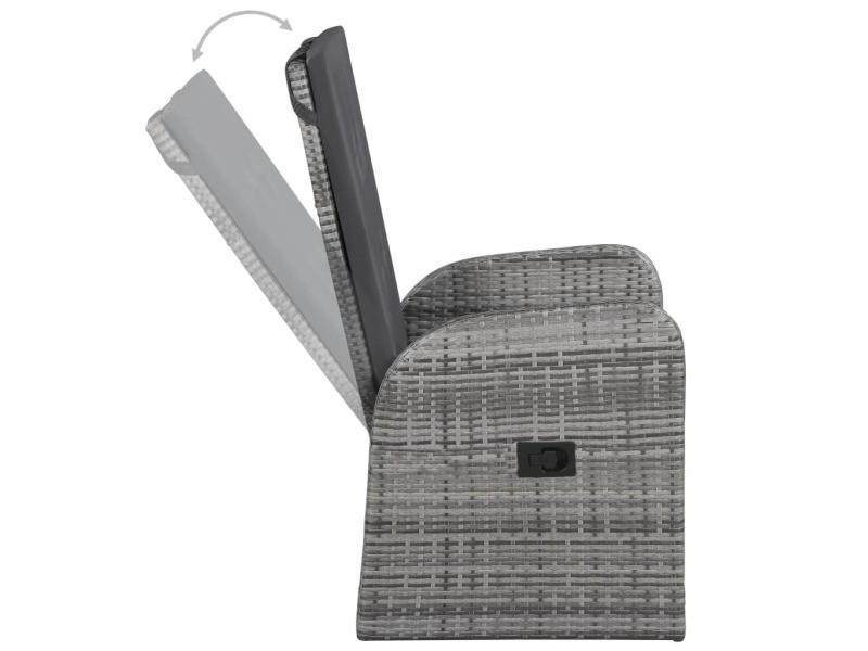 Vidaxl chaise inclinable de jardin 2pc et coussins résine tressée gris 47676