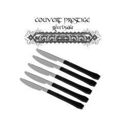 20 couteaux prestige jetables plastique noir