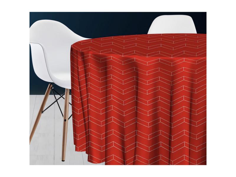 Nappe ronde diam.180 cm space rouge, par soleil d'ocre