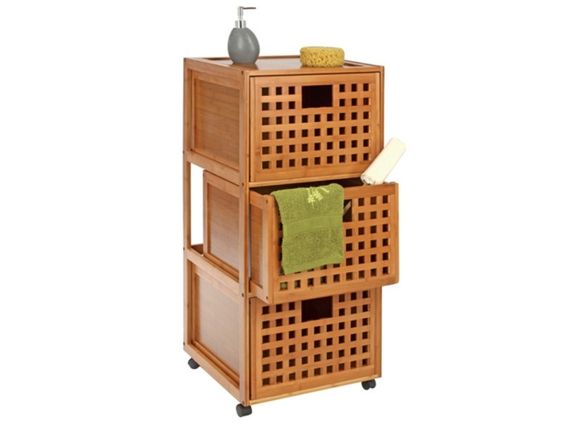 Meuble de salle de bain roulettes 3 tiroirs gamme for Accessoire salle de bain bambou