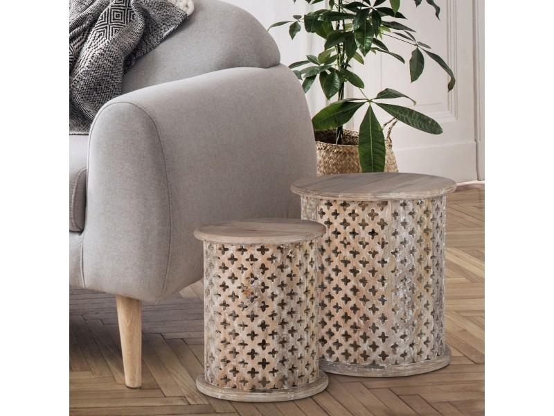 Set of 2 table d'appoint ronde gris, ø35 / ø45 cm, en bois de manguier massif 390002103