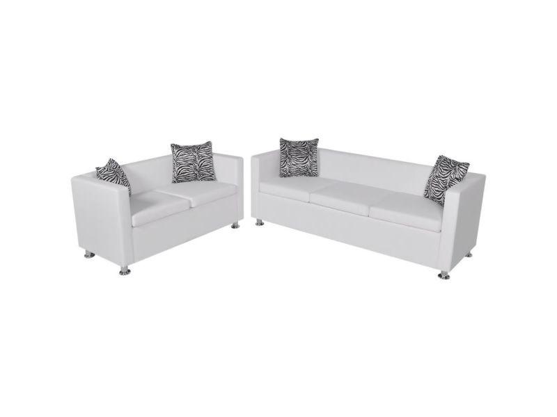 Magnifique meubles selection pékin jeu de canapé à 2 places et à 3 places cuir synthétique blanc