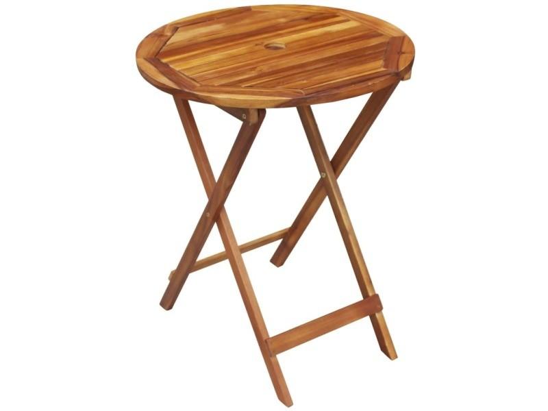 Icaverne - ensembles de meubles d'extérieur famille ensemble de bistro d'extérieur 3 pcs bois d'acacia pliable rond