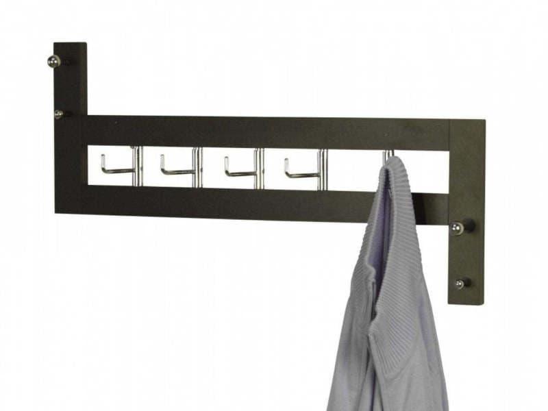 Porte-manteau mural en bois noir 25x60x8cm med05045
