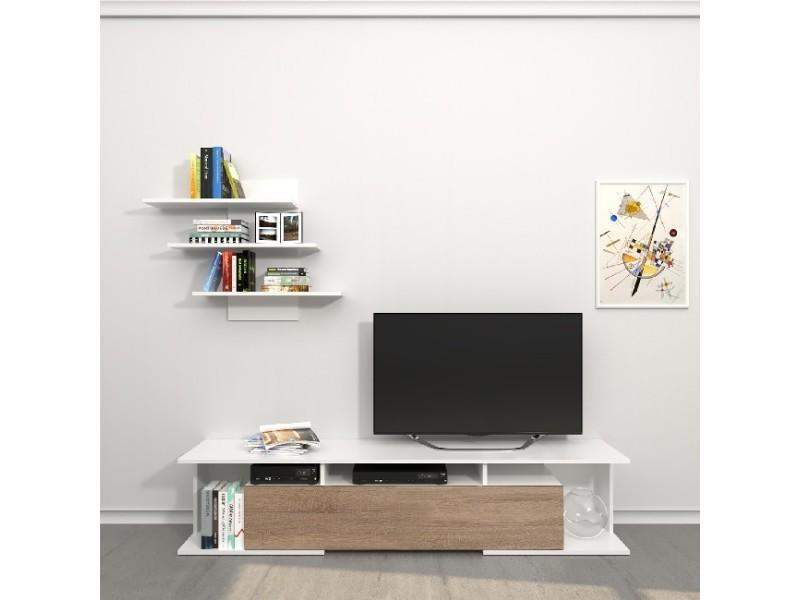Homemania meuble tv bounty - avec des étagères, des tablettes, des portes - du salon - blanc, sonoma en bois, 170 x 32 x 36 cm