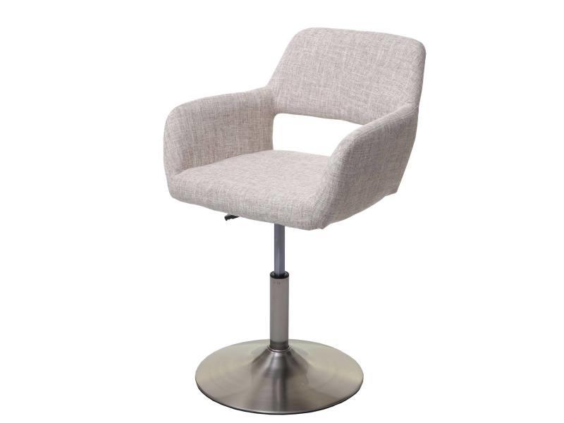 Chaise de salle à manger hwc-a50 iii, style rétro années 50, tissu ~ creme/gris, pied en métal brossé