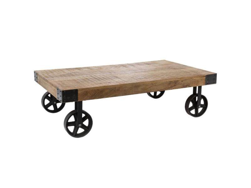 Table basse à roulettes en bois \