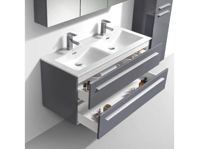 meuble salle de bain design double vasque siena largeur 120 cm gris laqu vente de salle de. Black Bedroom Furniture Sets. Home Design Ideas