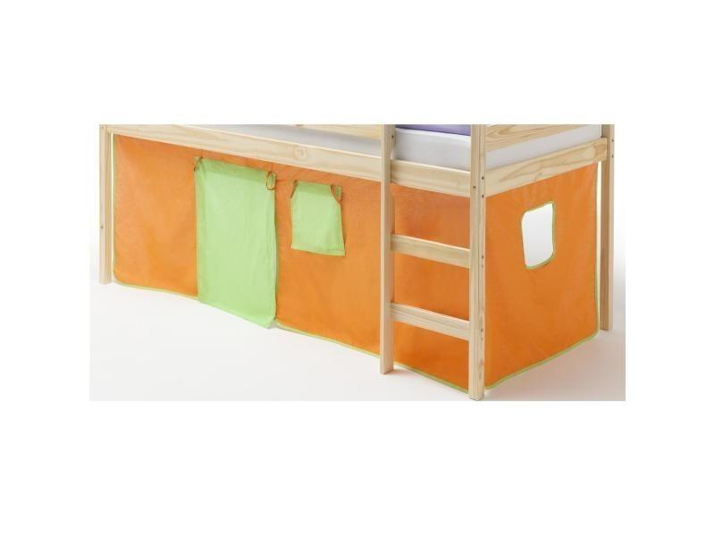Rideaux pour lit superpos lit sur lev coton orange et vert vente de idimex conforama - Rideaux pour lit sureleve ...