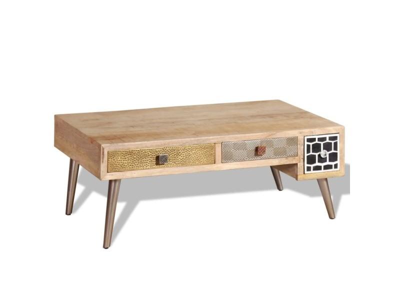 Vidaxl Table Basse Avec Tiroirs Bois De Manguier Massif 105x55x41 Cm