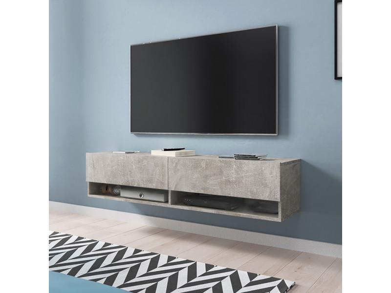 Meuble Tv Wander 140 Cm Béton Sans Led Design Moderne