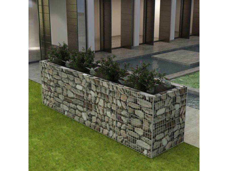 Vidaxl lit surélevé à gabion acier 360x90x100 cm 142553