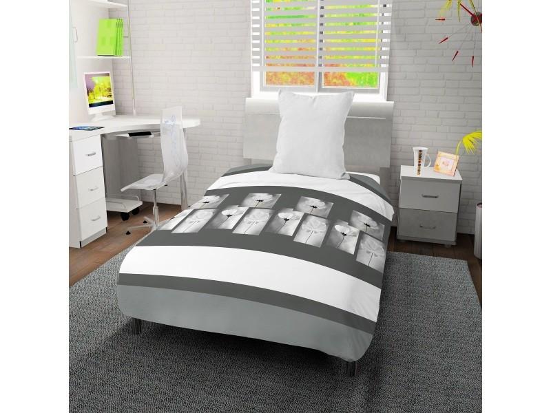Couette imprimée 140x200 cm pétale blanc