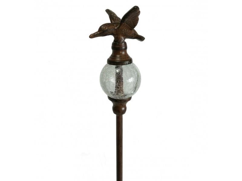 Tuteur à plantes ou pic de jardin motif oiseaux à planter en fer et fonte et verre patiné marron 6x6x123cm
