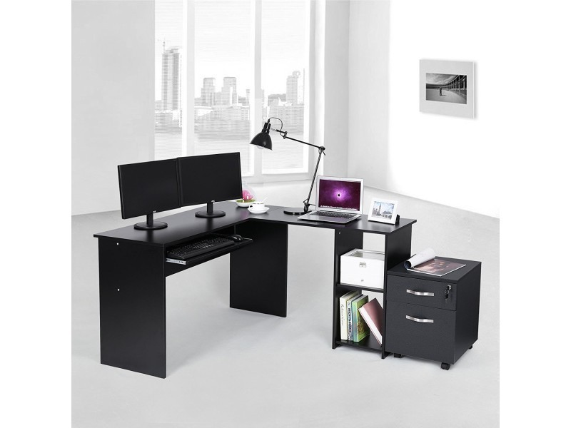 latest superbe bureau duangle noir avec etagre neuf sglcdb. Black Bedroom Furniture Sets. Home Design Ideas