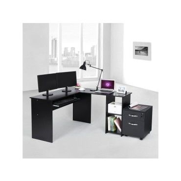 superbe bureau informatique d 39 angle noir avec etag re neuf. Black Bedroom Furniture Sets. Home Design Ideas