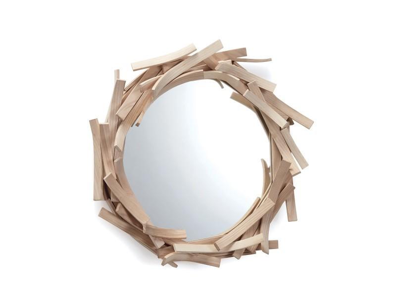 Miroir design en bois agathe mod le rond vente de limelo for Miroir rond design