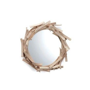 Miroir design en bois agathe mod le rond vente de limelo - Miroir rond en bois ...