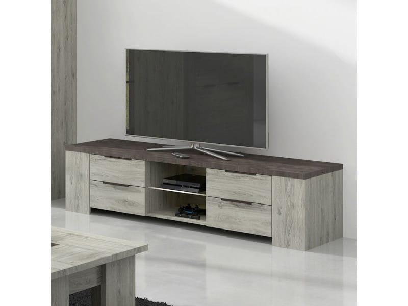 Meuble tv 4 tiroirs 2 niches bois gris/béton - riucko - l 170 x l 52 x h 43 cm