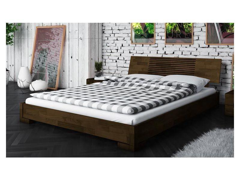 Lit bas wenge marron design en bois 140 x 190 cm - zenno - Vente de ...