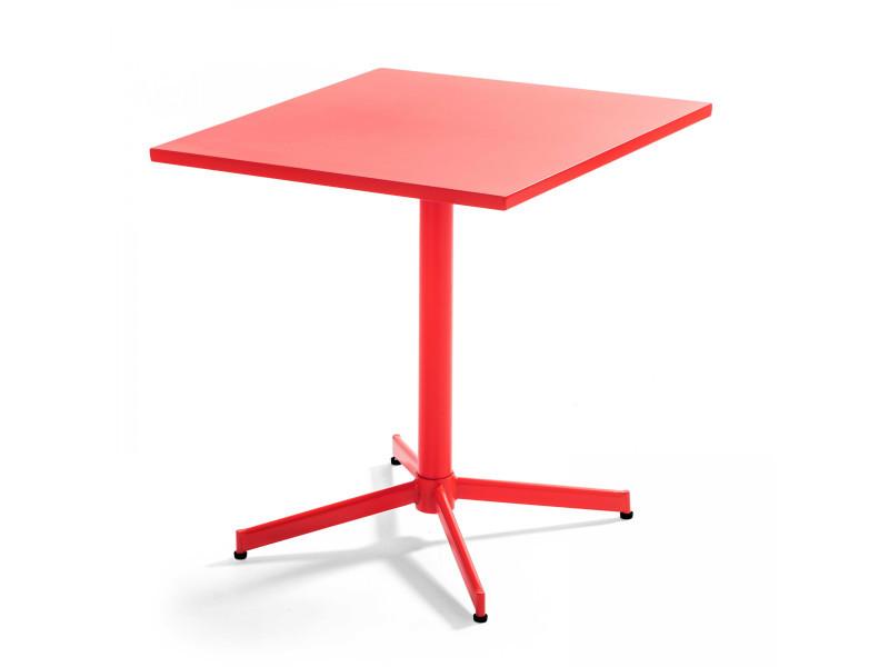 Table de jardin plateau carré rabattable en métal palavas 4 places acier rouge