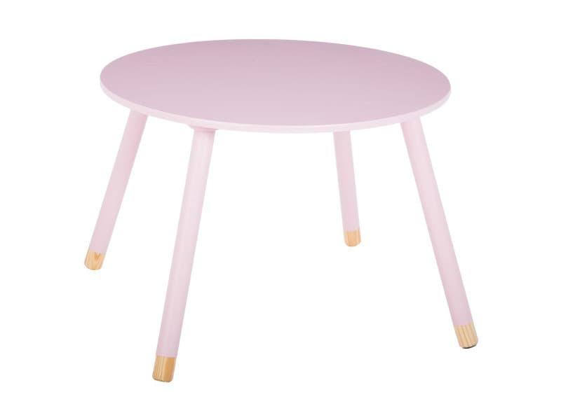 Table douceur rose pour enfant en bois ø60cm