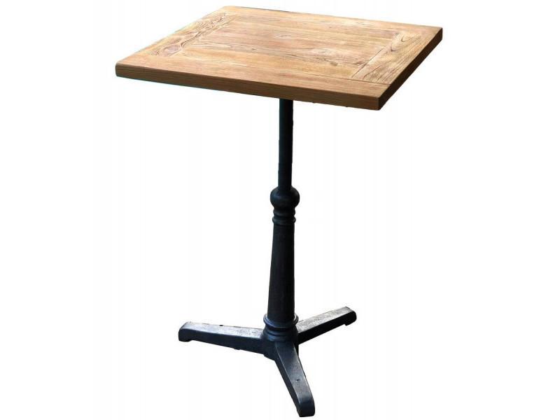 Bistrot - table haute carrée 60 cm acier et bois massif