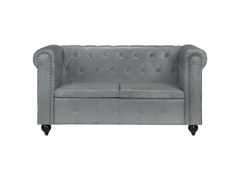 Vidaxl canapé chesterfield à 2 places gris cuir véritable 283759
