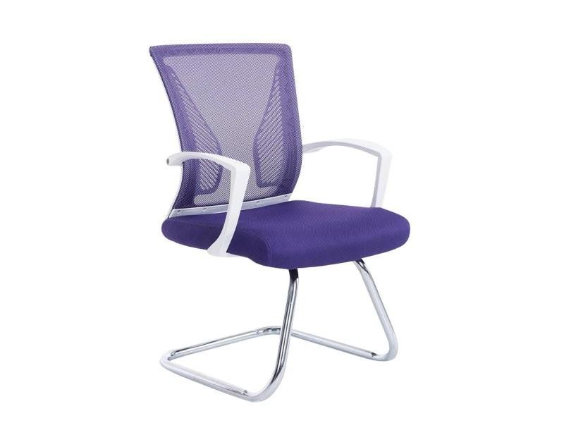 fauteuil chaise de bureau sans roulette violet tissu et métal ... - Chaise De Bureau Violette