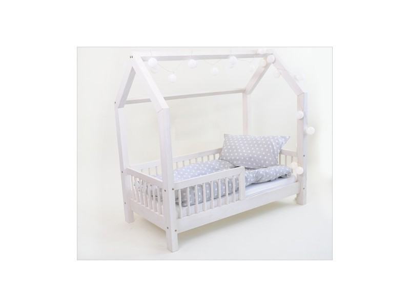 lit cabane b blanc 80x180cm sommier vente de monlitcabane conforama. Black Bedroom Furniture Sets. Home Design Ideas