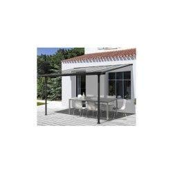 Toit de terrasse 3x3m aluminium anthracite et polycarbonate habrita