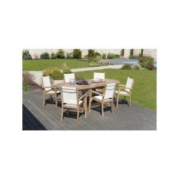 Salon de jardin en teck et textilène avec 1 table ovale et 6 ...