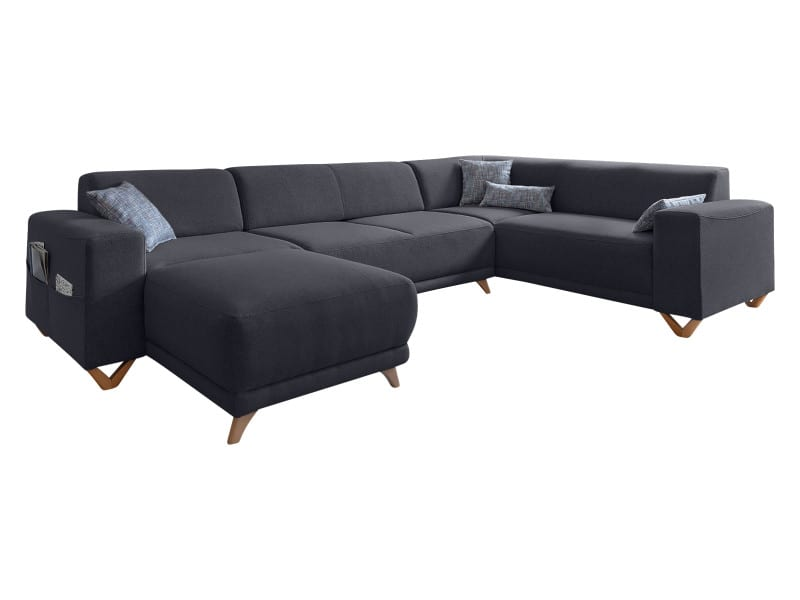 Panoramique Anthracite Coffre Xxl Bella D'angle Convertible Canapé N80vmwn