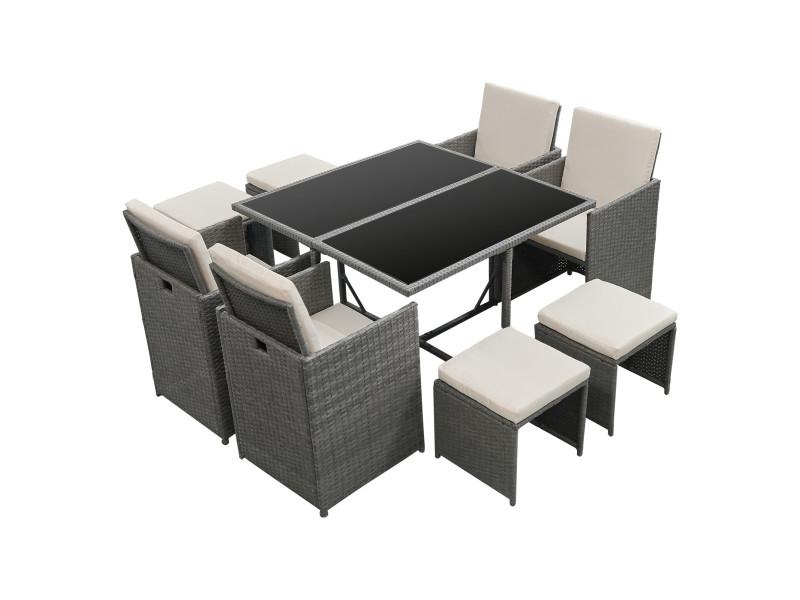 Salon de jardin de 9 pièces ensemble table 4 fauteuils 4 tabourets set de meubles extérieurs acier polyrotin polyester gris foncé avec coussins beige [en.casa]
