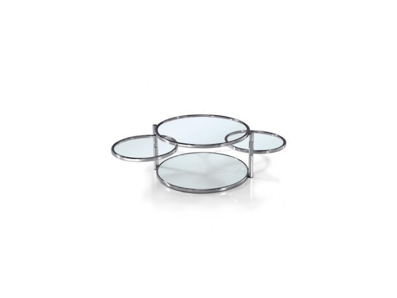 Table basse 3 plateaux verre et chrome infinity