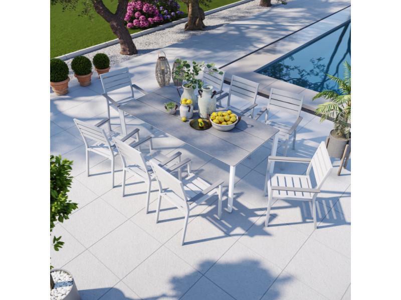Table de jardin aluminium blanc bois composite gris + 8 fauteuils empilables - lena