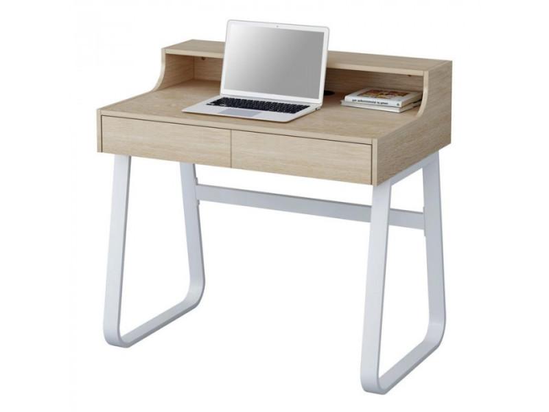 Petit bureau informatique en bois coloris hêtre et métal blanc