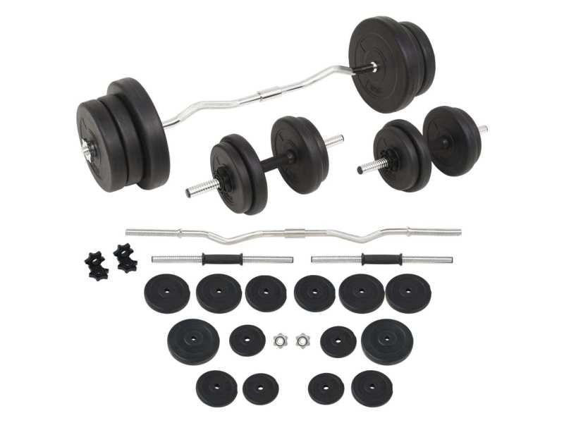 Vidaxl ensemble d'haltères et barres d'haltères 60 kg 91402