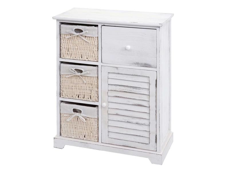 Commode hwc-h21, armoire à tiroirs, tiroir panier en bois massif 80x60x30cm ~ blanc miteux