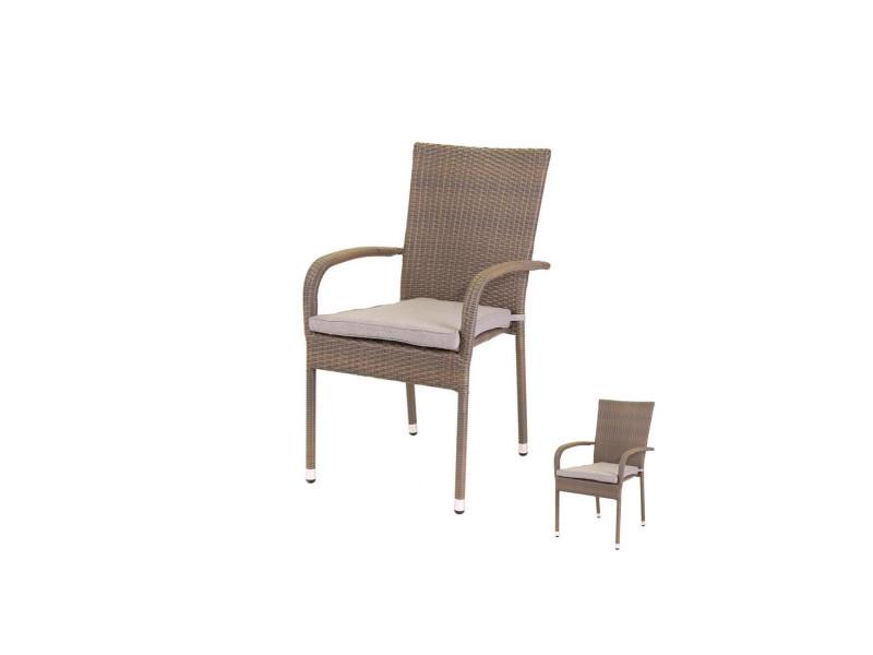 Duo de chaises rotin taupe et coussins - baros - l 55 x l 66 x h 94 ...