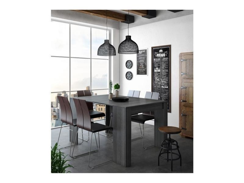 Skraut Home - table console extensible, rectangulaire avec rallonges, jusqu'à 140 cm, pour salle à manger et séjour, couleur grise. Jusqu´à 6 personnes. Dimensions fermée : 90x50x78 cm.