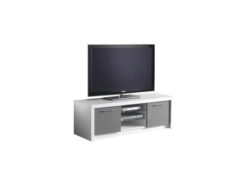 meuble tv moderne blanc et gris laqu 150 cm 2 portes vente de comforium conforama. Black Bedroom Furniture Sets. Home Design Ideas