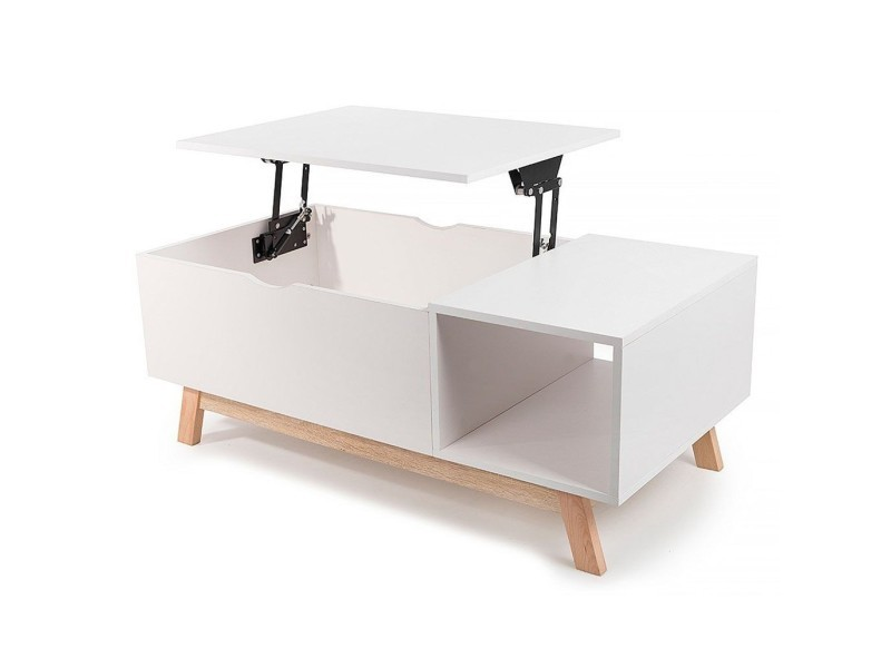 gossa table basse style scandinave avec plateau volutif blanc vente de table basse conforama. Black Bedroom Furniture Sets. Home Design Ideas