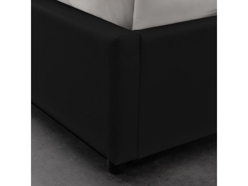 sommier coffre de rangement room noir 180x200 conforama. Black Bedroom Furniture Sets. Home Design Ideas