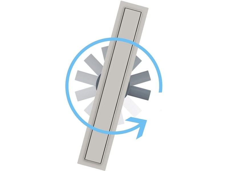 Aica caniveau de douche italienne 60 cm en acier inoxydable 2 en 1 + siphon 360