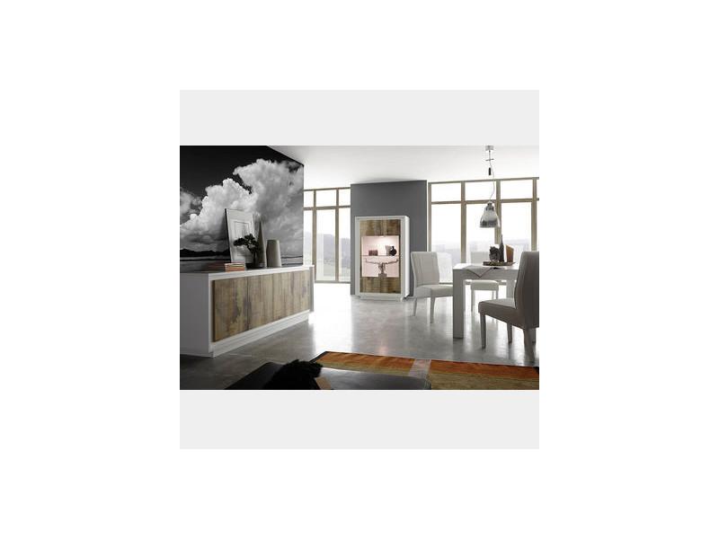 Salle à manger moderne blanc et couleur bois erine 2 - Vente ...